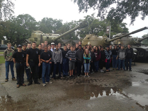 First year cadets stand in front of three tanks at Camp Mabry. Camp Mabry is a Texas Military Museum open to the public.