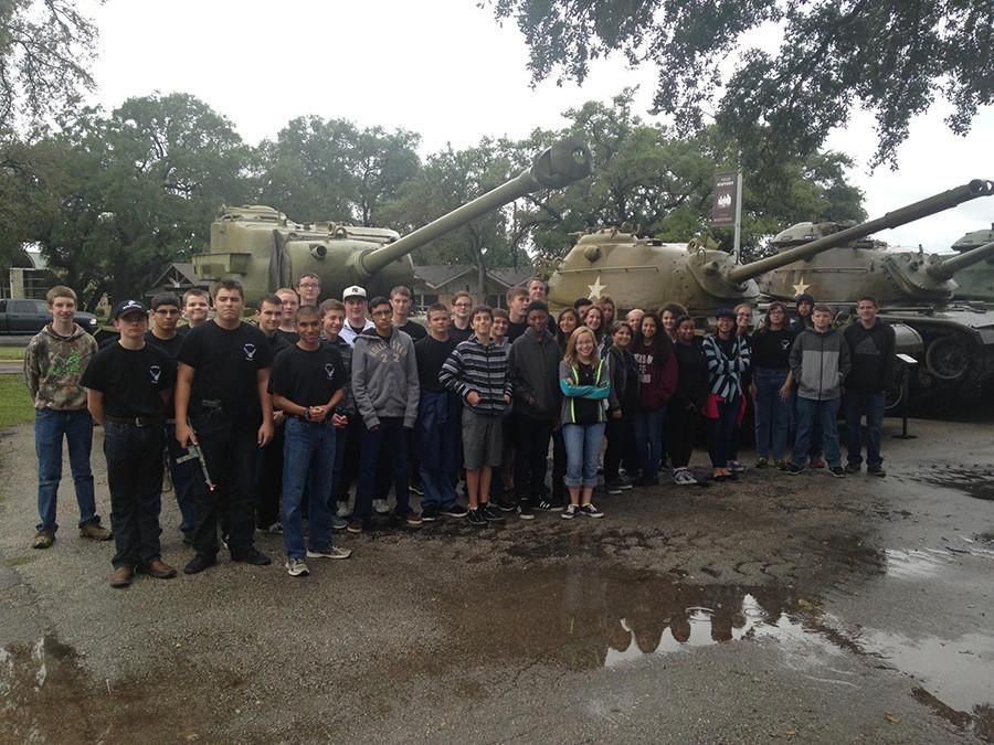 First+year+cadets+stand+in+front+of+three+tanks+at+Camp+Mabry.+Camp+Mabry+is+a+Texas+Military+Museum+open+to+the+public.