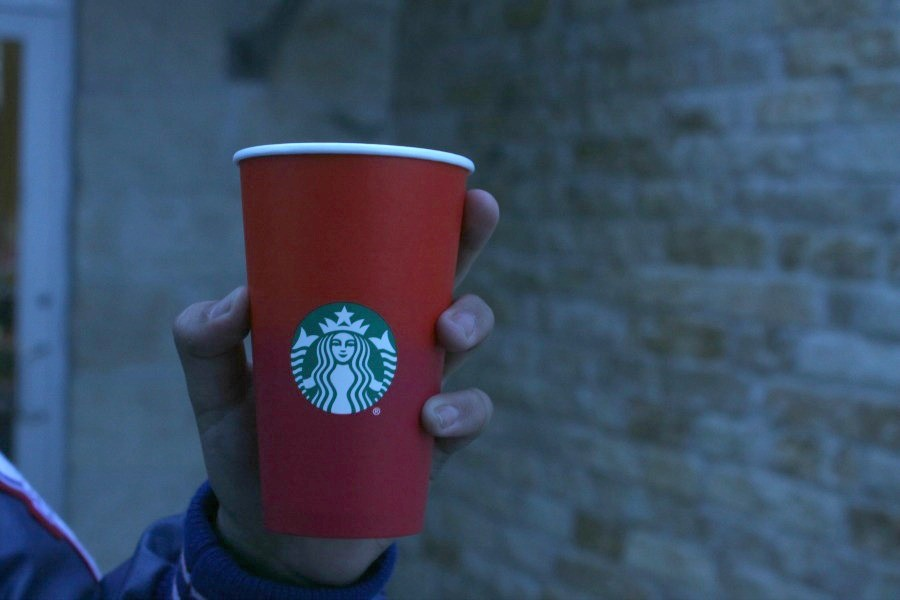 The new design of the Starbucks red cup. This sparked discussion on social media.