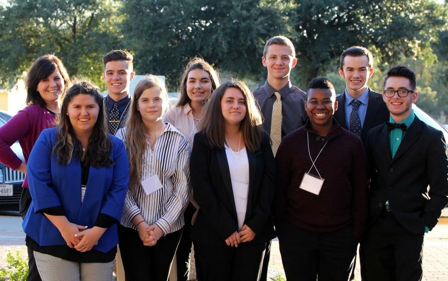The+Youth+and+Government+team+%28L-R%29%3A+Adviser+Danielle+Bell%2C+sophomore+Heather+Costello%2C+junior+Jared+Bouloy%2C+freshman+Michelle+Gendron%2C+sophomore+Brianna+Sabrsula%2C+freshman+Lauren+Dyer%2C+sophomore+Kyle+Gehman%2C+freshman+Jalen+Garrett%2C+senior+Jack+Densmore+and+junior+Austin+Graham.+Bouloy%2C+Densmore%2C+Dyer%2C+and+Costello+all+received+Distinguished+Delegate+awards.