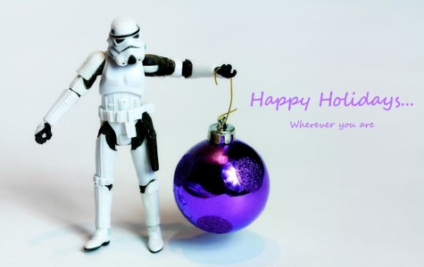 A Stormtrooper holding a Christmas ornament. The holiday special scored a 50% on Rotten Tomatoes.