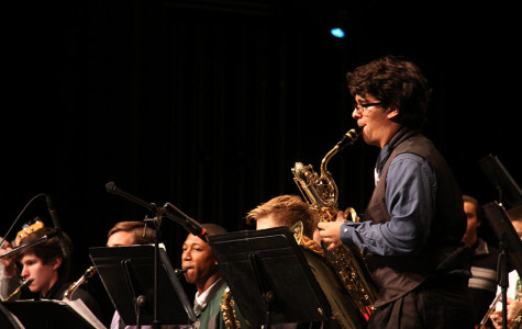 Junior Mitch Gilly playing a solo for Jazz Band. His solo was in