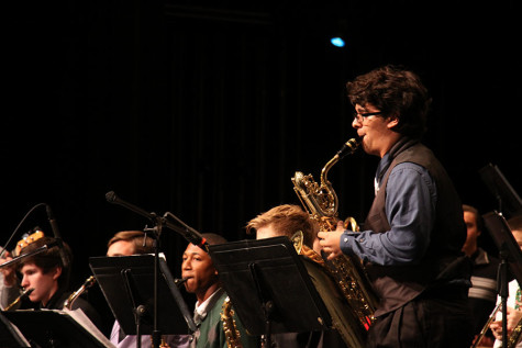 "Junior Mitch Gilly playing a solo for Jazz Band. His solo was in ""Don"