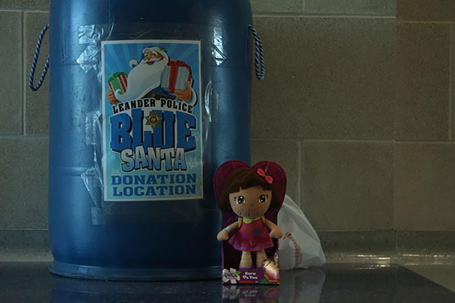 The school's Blue Santa barrel with one of the toys donated sitting next to it. The charity ends at December 18th with the hope to give kids in need toys.
