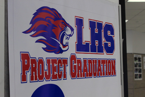 The project grad poster near the cafeteria. It is used to show the amount of profit raised by the organization.
