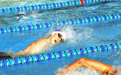 Student swims free style. All that is left in the season is districts, regions, and state.