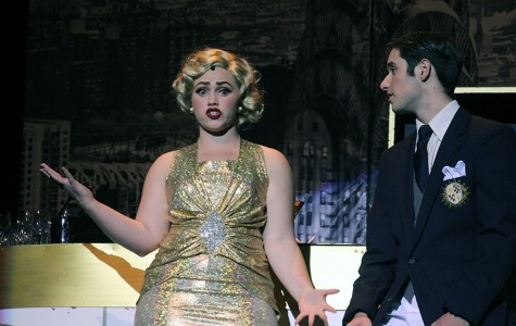 The opening scene of the musical with two of the leading actors, senior Lynley Eilers and junior Evan Hays who played the roles of Reno Sweeney and Billy Crocker. These two have a on-and-off relationship throughout the show, but discover that they're just friends and work together to marry their true loves.