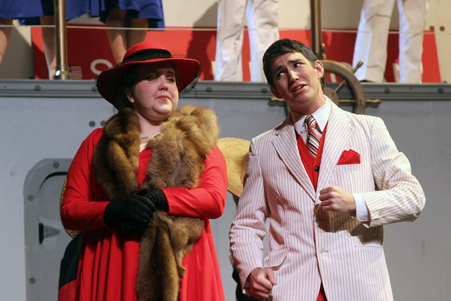 Ms.Harcourt and Elisha Whitney played by senior Olivia Baker and junior Nick Davila. Their characters know each other from 40 years ago and eventually get married after Whitney becomes a zillionare.