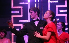 Juniors Matthew Kennedy and Ana Arthur during the scene 'Public Enemy Number One'. In this scene the passengers give thanks to