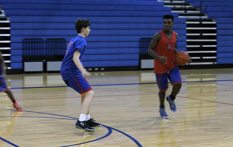 JV boys Chris Jones and Seneca Jones during practice. The boys practice in the morning before school, during their class period and after school.