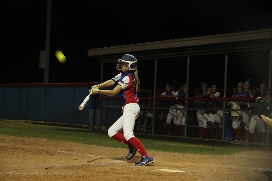 Now+senior+Shannon+Dodd+hitting+the+ball+last+season+during+senior+night.+Dodd+is+one+of+the+four+seniors+currently+on+the+team.