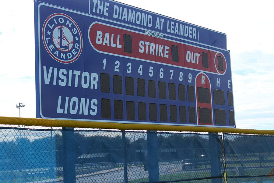 The new scoreboard for the baseball team. It was put up on December 23rd.