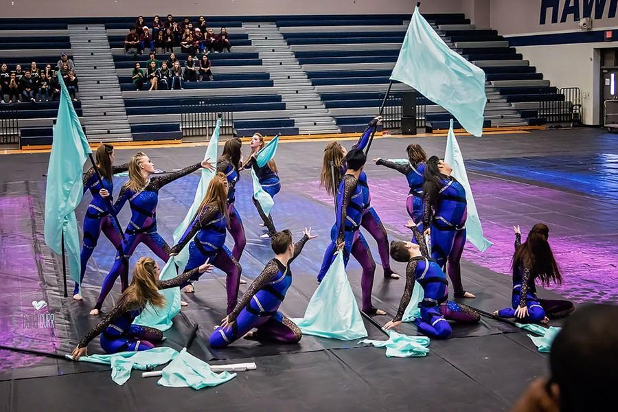 The+Varsity+Winter+Color+Guard+performs+their+show+%E2%80%9CMy+Body%E2%80%9D.+They+won+first+place+for+their+show.