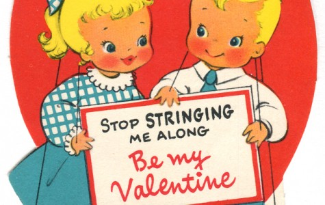 A very old Valentine's day card with a cheesy dialog. However, this one probably won't make your eyes roll.