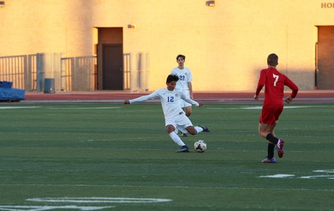 Sophomore Luis Montes kicking the ball down the field. The team beat Marble Falls 4-1 last Friday night.