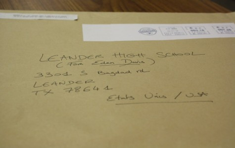The envelope which contained the letters being received from Lille. The other schools in the district including Rouse, Vandegrift, and Vista Ridge are also participating in three other schools in different parts of Lille.