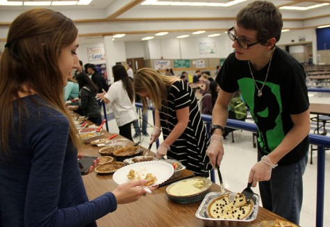Students served pie to their peers at the annual Peace through Pie event. Each pie was entered in a contest.