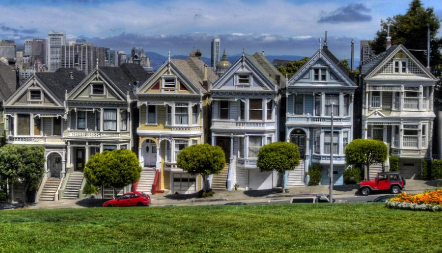 Houses on the streets of San Francisco where the show takes place. The yellow house is the 'Full House' house.