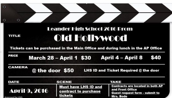 The main ad for prom. Tickets are sold at the front office and APs office.