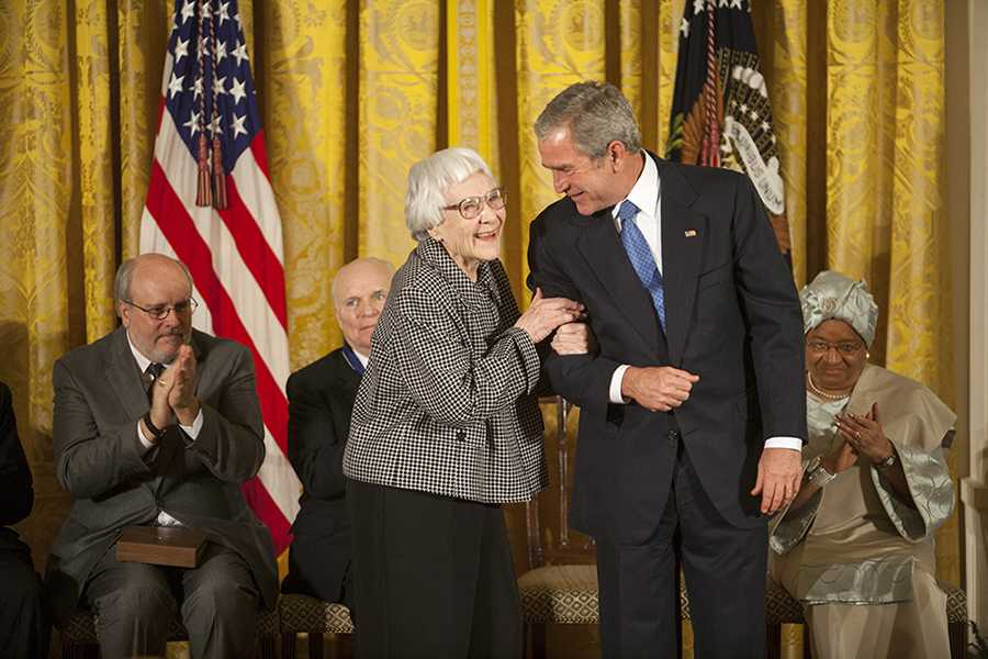 President George W. Bush shares a moment with author Harper Lee  Monday, Nov. 5, 2007, prior to presenting her with the Presidential Medal of Freedom during ceremonies in the East Room of the White House. Photo by Eric Draper, Courtesy of the George W. Bush Presidential Library and Museum