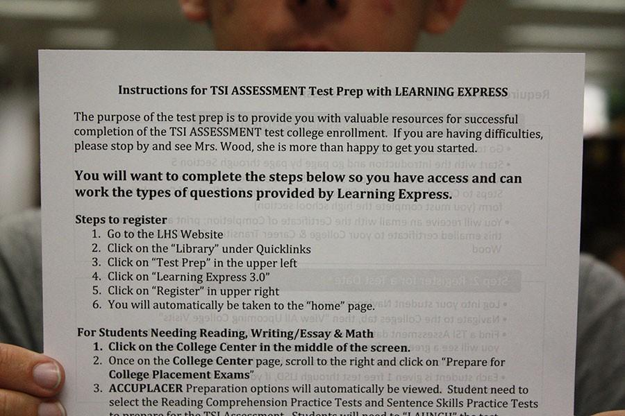 A piece a paper about preparing for the TSI. If a students PSAT, ACT or SAT isn't high enough they must take this test.