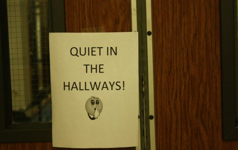 A sign directors posted in the hallways in order to keep the noise down while students played their solos and ensembles.