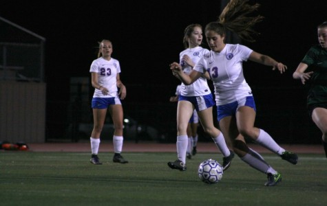 Junior sweeper Kyah Carlson #13 taking the ball away from the Timberwolves in Bible Stadium. Against Cedar Park, the Lady Lions would soon lose with a score of 0-4.