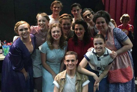 The cast right before their performance at the competition. The cast is made up of 8 juniors and 3 seniors.