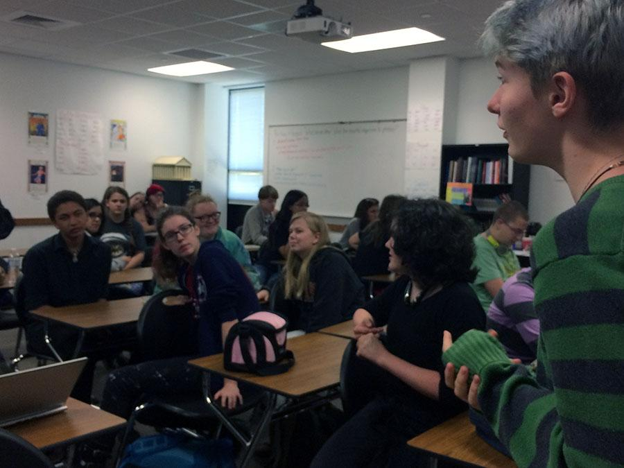 Butler directs the room on their topic, stereotypes. Some days, no agenda is set.