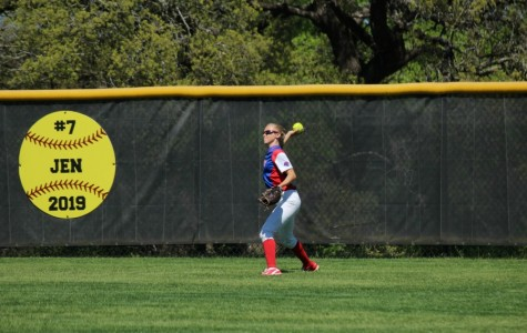 Senior Gabby Walton throwing from the outfield. In the Cedar Park game, Walton made a catch that forced Cedar Park out.