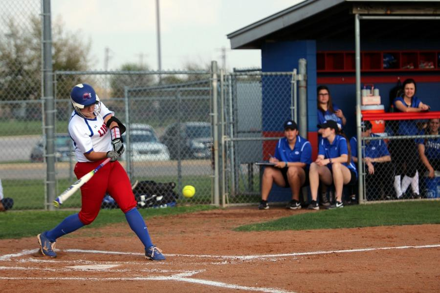 Senior Hailey MacKay about to hit a ball against Georgetown. MacKay had three single hits during the game. This was the first time the Lady Lions faced Georgetown this season.  They will play Georgetown again in the second round of playoffs.