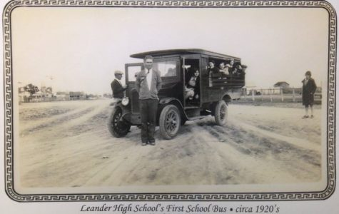 The first school bus for Leander ISD.  This photo was taken in 1920.