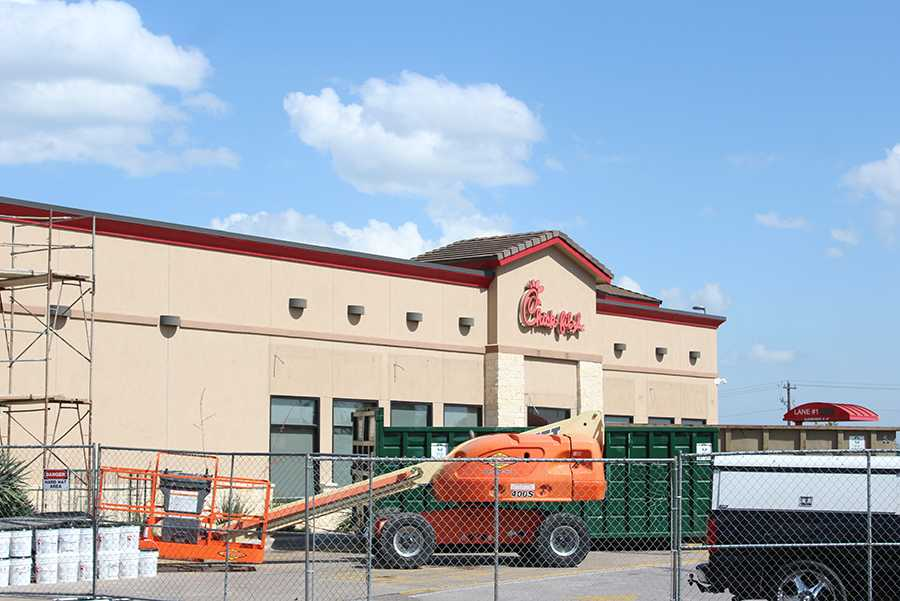 The Chick-fil-A being renovated. It is expected to reopen around mid-May.