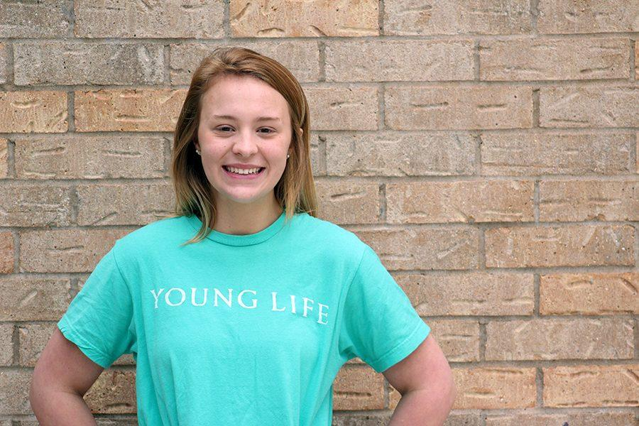 Jordyn+Farrar+wears+her+Young+Life+shirt.+These+shirts+can+be+won+during+the+raffles%2C+one+of+the+many+Monday+night+activities.