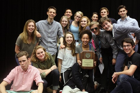 Part of the one act cast posing with their bi-district award. The group will compete at regional on Saturday, April 22.