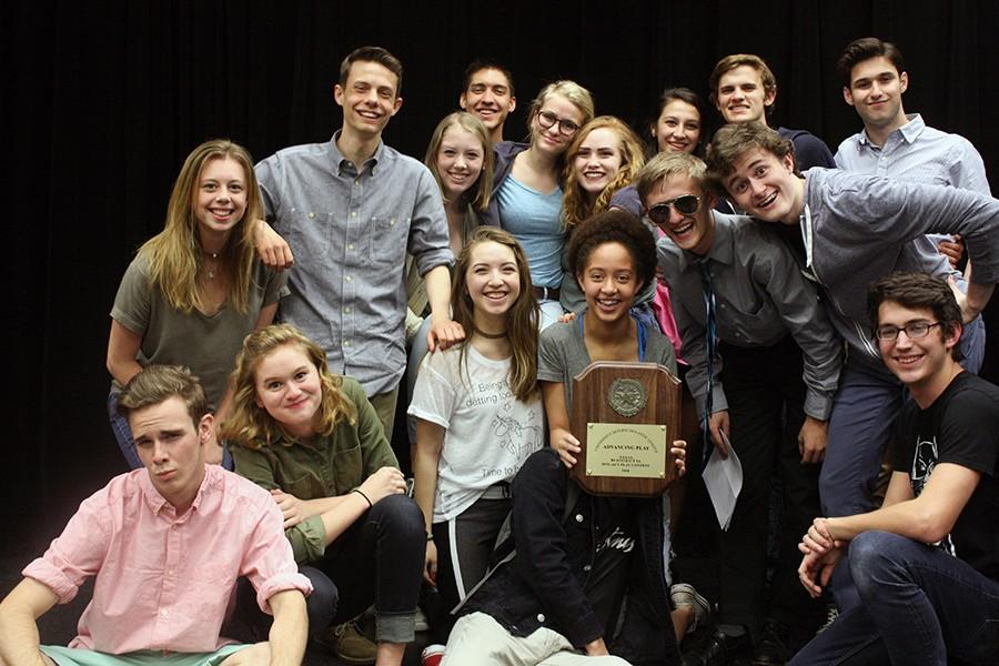 Part+of+the+one+act+cast+posing+with+their+bi-district+award.+The+group+will+compete+at+regional+on+Saturday%2C+April+22.