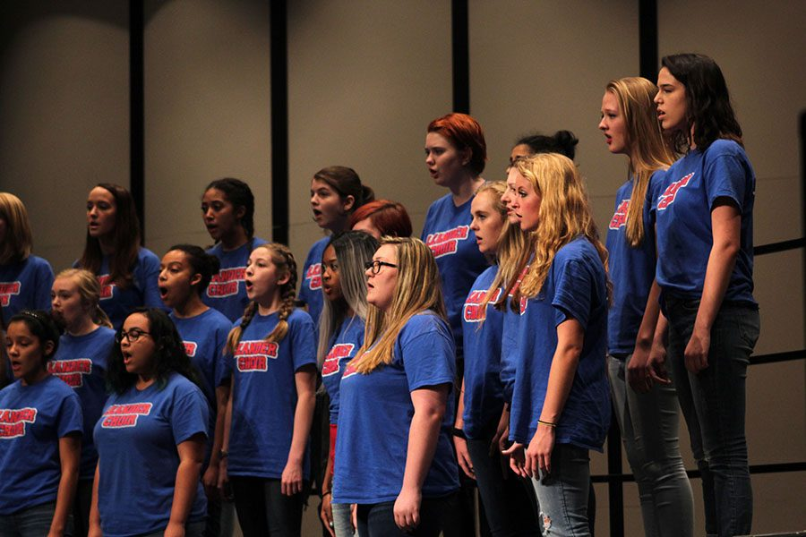Varsity+Women%27s+choir+singing+at+Pre-UIL.+They+made+all+ones+in+sight+reading.