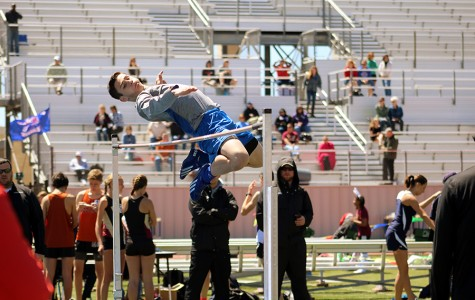 Sophomore Michael Jorgenson competes in the high jump. The team won 3rd during this particular meet.