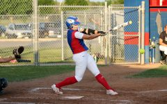 Senior Hailey MacKay hitting against Cedar Park earlier in the season. MacKay hit a grand slam in the game against East View last Friday.