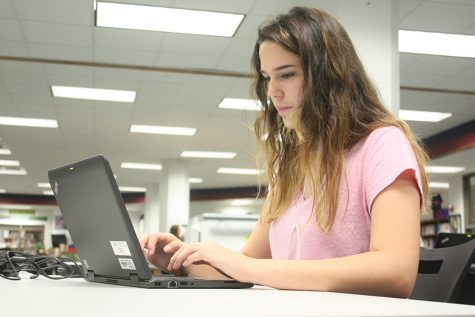 Laptops can be used in the library, as well as a variety of books.