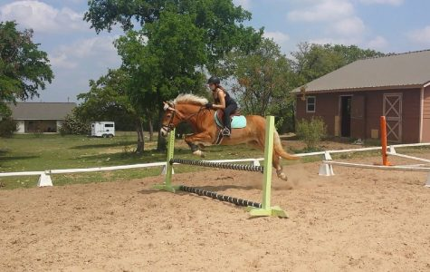 Lexi Cruz practices long jump with her horse Paisley. She has been riding Paisley for two years.