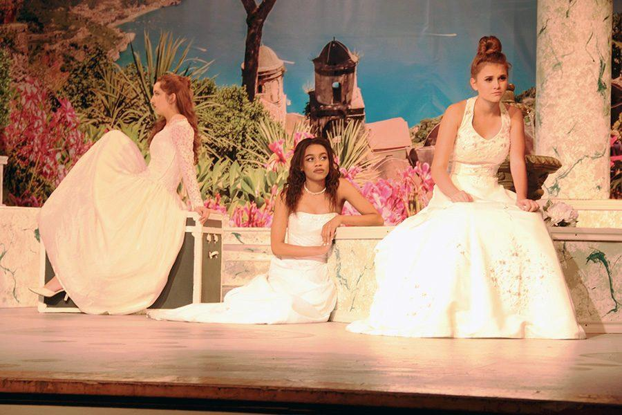 The three sisters played by Juniors (left to right) Ellena Martinez, Ariel O'Gwin, and Katie Pizer. They performed Wednesday and Friday only.