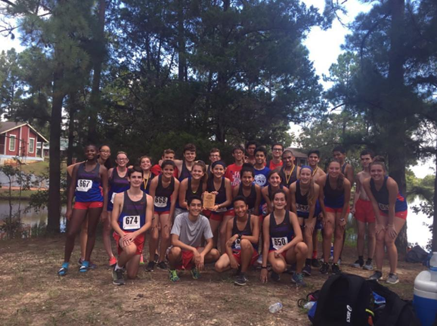 Cross country boys and girls teams at the Giddings meet. Leanders Cross country team placed overall second and eighth for the girls and boys team.