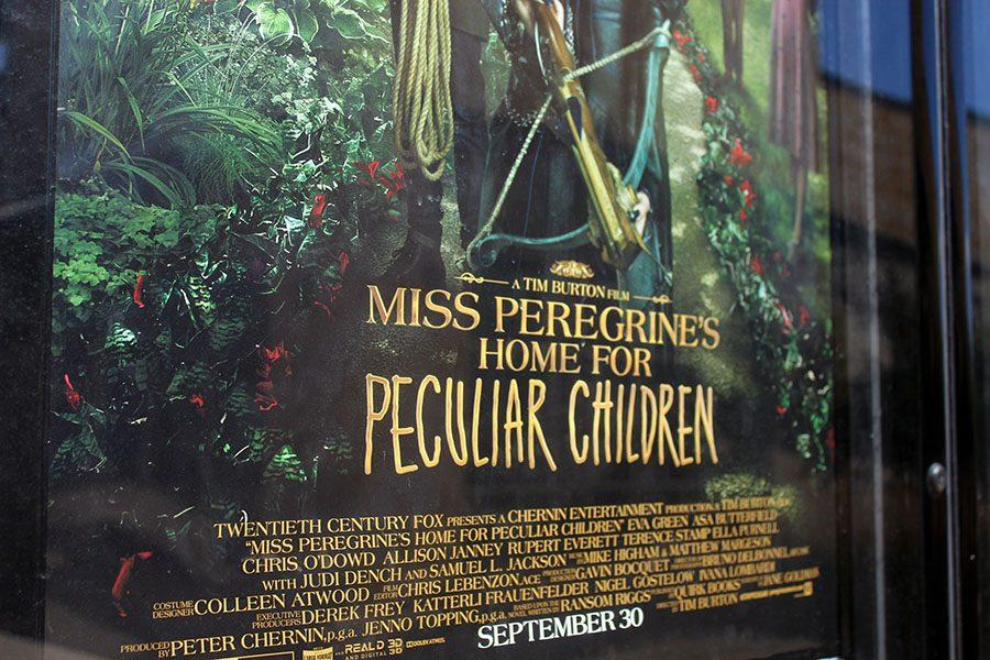 Movie+poster+displaying+Miss+Peregrine%27s+Home+for+Peculiar+Children+in+front+of+the+Cinemark+Cedar+Park.+Peregrine+is+the+name+of+a+certain+type+of+falcon.
