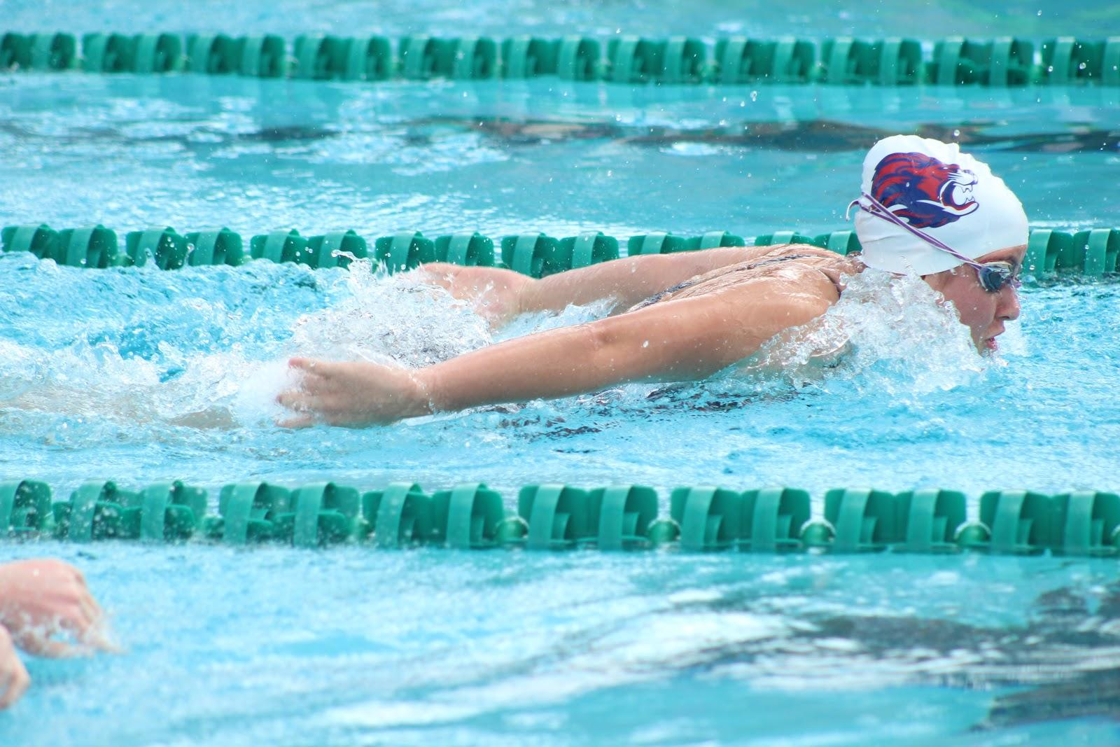 Senior Maja Milanovic swimming at the Georgetown-East view meet. This was the last district meet for the Lions swim team.