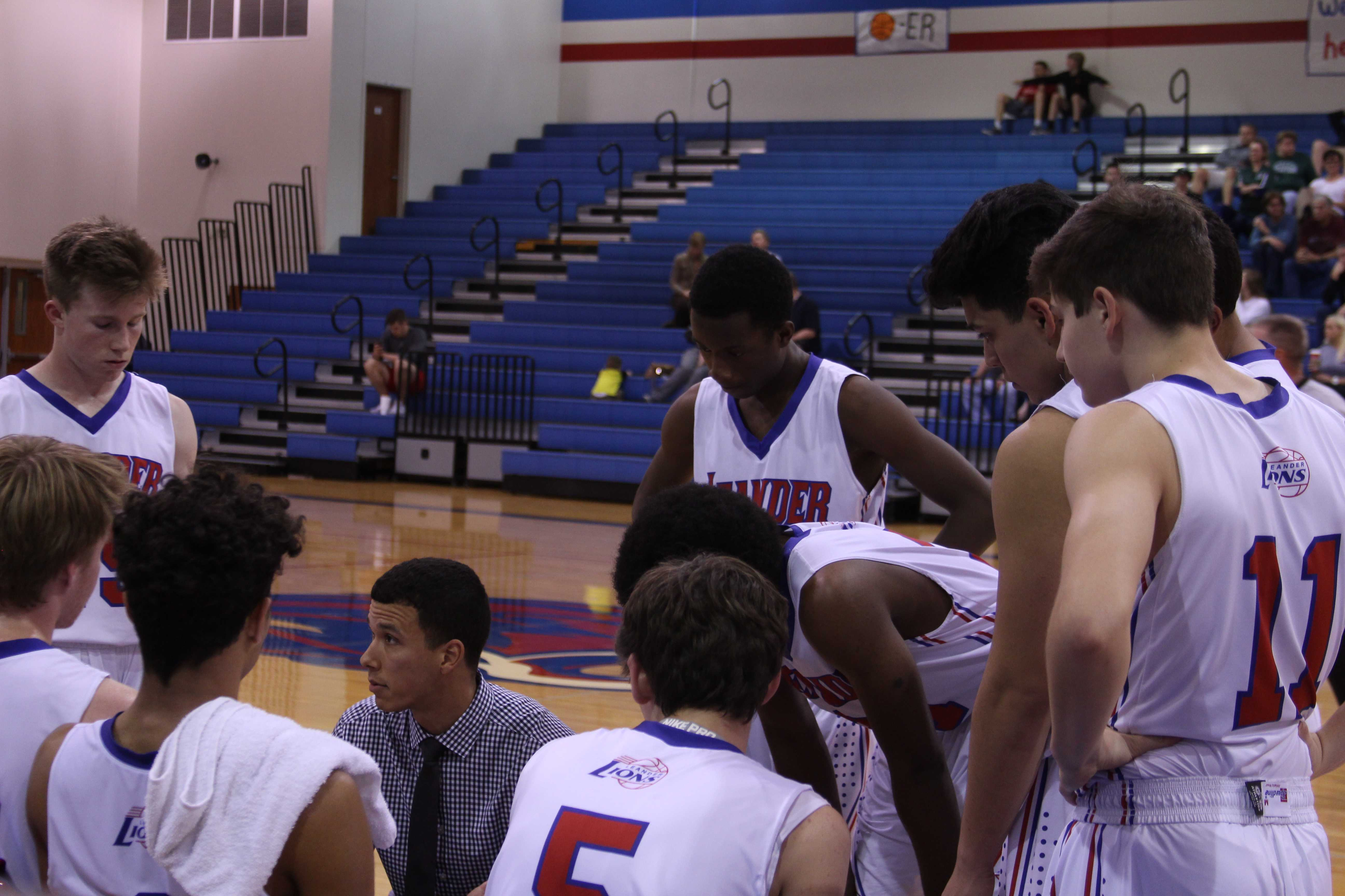 JV boys during a time out. This was the second game they've lost this season.