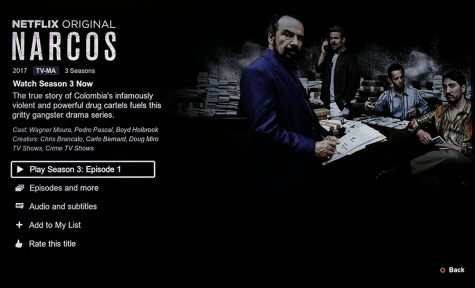 Narcos Season 3 is a ten episode long season with each episode at about 50 minutes. It follows the story line of the Cali Cartel.