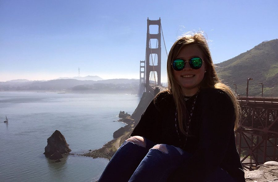 While in San Francisco, Skyllar Duncan was able to also visit some of the famous sites like the Golden Gate Bridge. Duncan was in San Francisco job shadowing her dad.