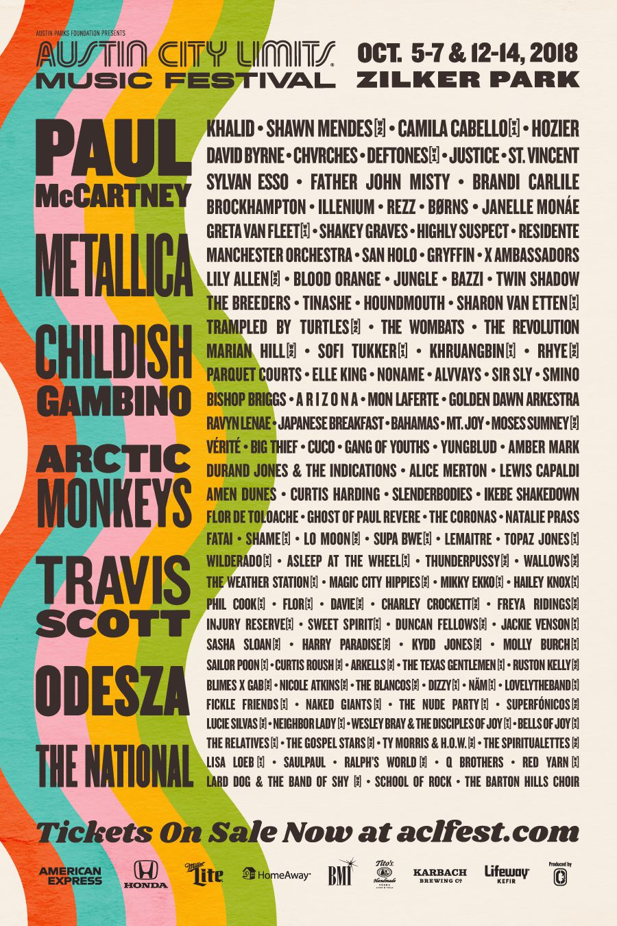 The 2018 ACL lineup has been announced. Prominent musicians like Childish Gambino, Khalid, and Shawn Mendes will be performing.