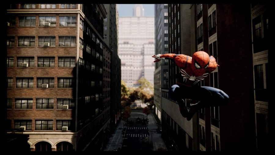 Spider-Man+traversing+the+concrete+jungle+of+New+York+City